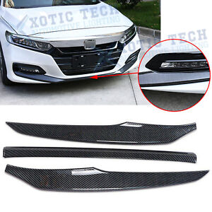Carbon Fiber Style Front Bumper Lip Cover Trims For Honda Accord 2018 2019 2020