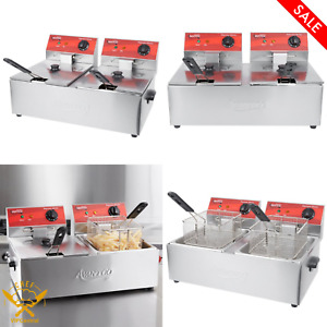20 Lb Dual Tank Electric Commercial Countertop Deep Fryer Light Duty 120v 3500w