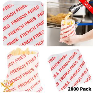 2000 Pack Medium Printed French Fry Bag Disposable Concession Supplies Durable