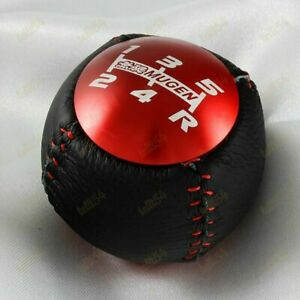 5 Speed Red Jdm Mugen Leather Shift Knob For Honda Crz Type R Civic Fa5 Fg2 Si