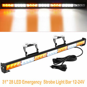 31 28led Emergency Flash Led Strobe Light Bar Traffic Advisor Light Amber White