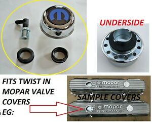 Chrome Valve Cover Breather Twist In Mopar Dodge Pylmouth Logo New 4 Pc Kit