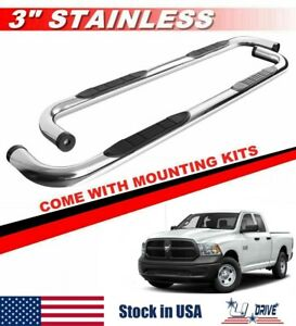 3 Silver Round For 2002 2008 Dodge Ram 1500 Quad Cab Side Steps Running Boards