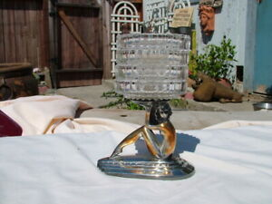 Vintage Art Deco Wb Mfg Silver Seated Nude With Heisey Glass Coaster Set