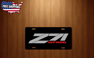 Z71 Off Road Chevy Silver Red Lettering New Black Aluminum License Plate Tag