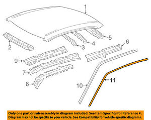 Toyota Oem 98 02 Corolla Roof Drip Molding Right 7555102051