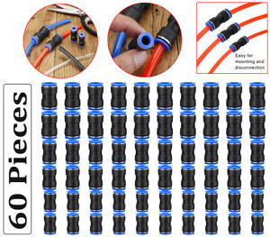 60 Pcs Straight Connectors Puch Connect Fittings Air Line Quick 1 4 5 16 3