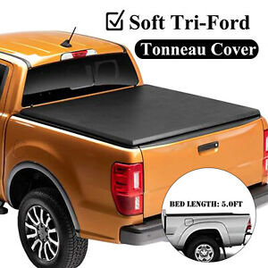 For 2005 2019 Nissan Frontier 5 Truck Bed Black Soft Tri Fold Tonneau Cover