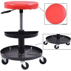 Red Black 300lbs Practicability Adjustable Tool Mechanic S Seat Work Shop