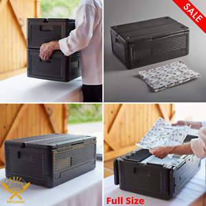 Black Insulated Catering Hot Cold Chafing Dish Food Pan Carrier Box Commercial