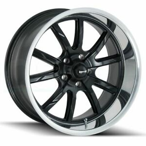 17x8 Ridler 650 5x114 3 0 Black Machined Lip Wheels Rims Set 4