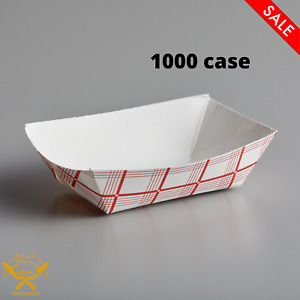 1000 Case 25 1 4 Lb 1 Compartment Disposable Red Check Paper Food Tray