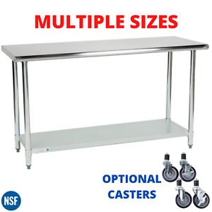 Work Table Stainless Steel Kitchen Prep Workstation Optional Casters Any Size