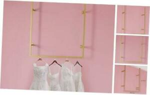 Gold Clothing Rack For Hanging Clothes Retail Display Rack On Wall Ceiling Mou