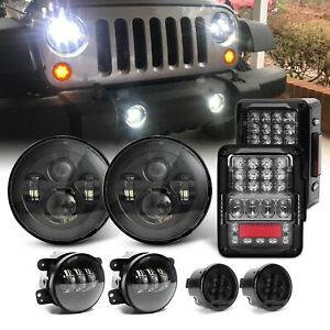 7 Led Headlights Fog Turn Tail Lights Combo Kits For Jeep Wrangler Jk Jku 07 17