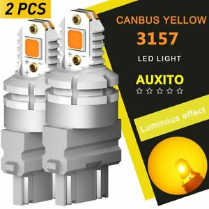 Canbus No Hyper Flash 3157 Led Amber Rear Turn Signal Light Bulbs 4157 4057 3057