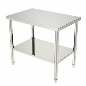 New 24 x36 x32 Kitchen Stainless Steel Heavy Duty Food Prep Work Table Silver