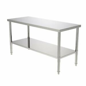 24 X 60 X 32 Kitchen Stainless Steel Heavy Duty Food Prep Work Table Silver