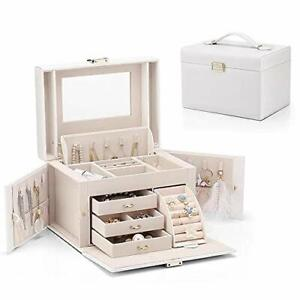 Vlando Mirrored Wooden Jewelry Box Organizers For Girls Women Necklaces Ear