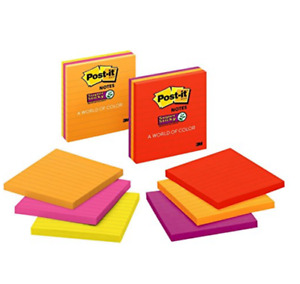 Post it Super Sticky Lined Notes 4 X 4 Assorted Bright Colors 6 Pads