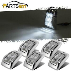 Set 5 Bright Top Clearance Roof Running Cab Marker White 6 Led Lights Clear Lens