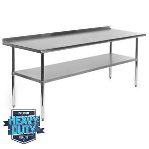 Open Box Stainless Steel Commercial Prep Table With Backsplash 30 X 72