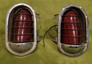 Pair Of 1951 Lincoln Cosmopolitan Car Tail Light Housings With Lenses Lrst 51