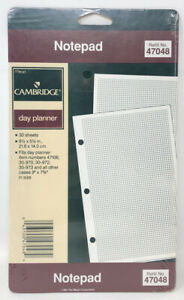 1992 Mead Cambridge Day Planner Refill Graph Paper Notepad 3 Ring Nos 8 5x5 5