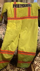 Lime Green Yellow Jumpsuit Fire Police With Orange Reflective Stripes Xl