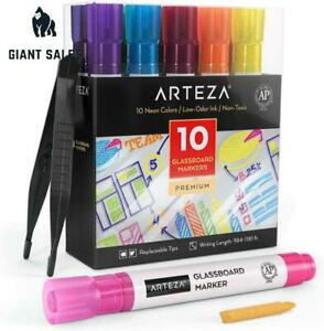 Arteza Glass Board Dry Erase Markers Pack Of 10 Bright Neon Colors With Low odor