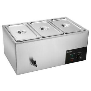 Commercial Food Warmer Bain Marie Buffet Steam Table Restaurant Chafer 3 Pan Us