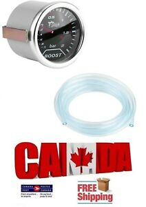 Turbo Boost Gauge 2 Inch 50mm Led Smoked Lens 2 Bar Psi With Pvc Hose