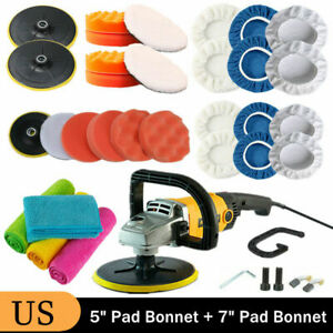 1200w Electric Car Polisher Buffer Sander Waxer Kit Variable Speed W 7 5 Pads
