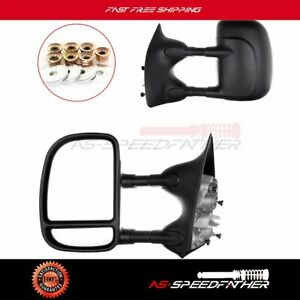 Towing Mirrors Manual Telescoping Fold For 99 16 Ford F250 Super Duty Truck Pair