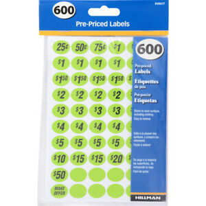 1 Pack Pre priced Home Garage Sale Yard Price Stickers Sale Labels Bright Colors