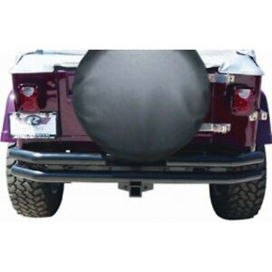 Rampage 7648 Double Tube Rear Bumper With Receiver Hitch 1987 2006 Jeep Wrangler