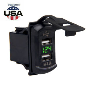 Dual Usb Charger Socket Port W Green Led Voltmeter Rocker Switch Panel Car Boat
