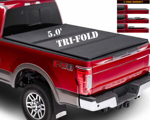 5 Ft Truck Bed Cover For 05 16 Frontier Pickup Hard Tri Fold Cover