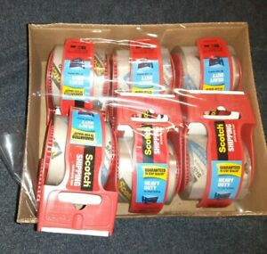 3m Scotch Clear Shipping Packing Tape 6 Rolls With Dispenser Heavy Duty New