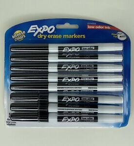 Expo Low odor Dry Erase Markers Fine Tip Black 8 Count 1 Pack