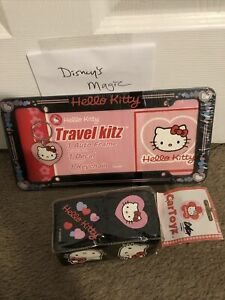 Hello Kitty Travel Kitz License Plate Frame Sticker And Keychain Plus Dice