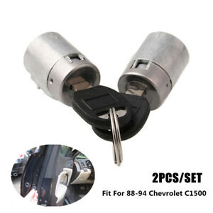 2pcs Iron Silver Car Door Lock Cylinder Fit For 1988 1994 Chevrolet C1500 Gmc