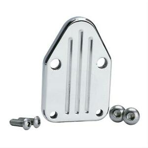 Summit 2310 Fuel Pump Block Off Plate Aluminum Polished Chevy Small Block