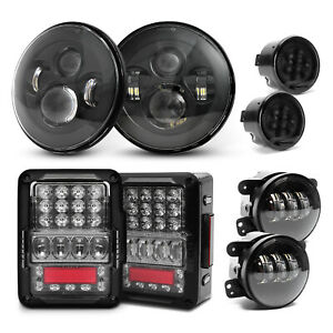 For Jeep Wrangler Jk Jku 07 Emc Tail Lights Led Headlight Fog Turn Signal Combo