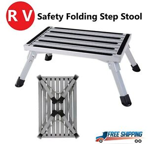 New Safety Folding Rv Step Stool Aluminum Ladder Non slip Portable Camping Seat