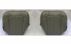 1999 2000 Chevy Silverado Driver And Passenger Bottom Leather Seat Covers Gray