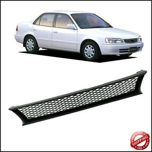 For 1993 1997 Toyota Corolla Dx Abs Black Mesh Front Bumper Hood Grill Grille