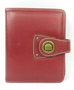 Franklin Covey Red Leather 6 ring 1 Compact Planner Binder Free Shipping