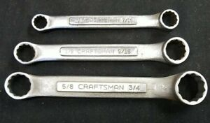 Vintage Craftsman Usa Stubby 3pc Double Closed Box End Wrench V Series 3 8 3 4