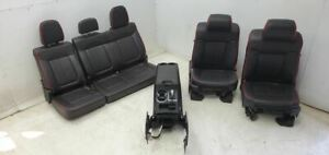 2012 2014 Ford F150 Black Leather Front Rear Seats Console Heat Cool